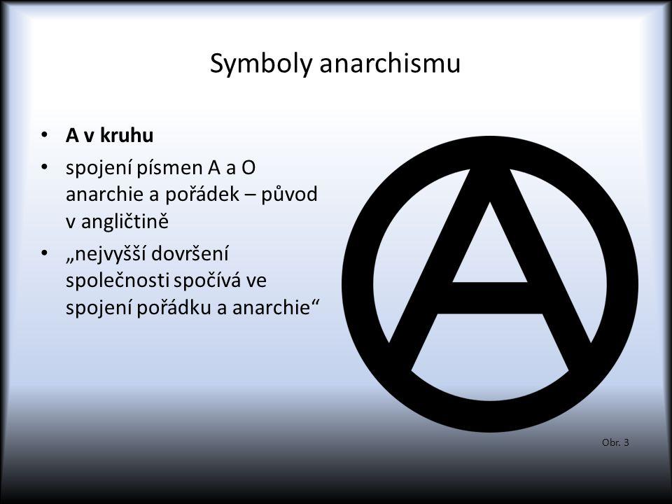 """Symboly anarchismu A v kruhu spojení písmen A a O anarchie a pořádek – původ v angličtině """"nejvyšší dovršení společnosti spočívá ve spojení pořádku a"""