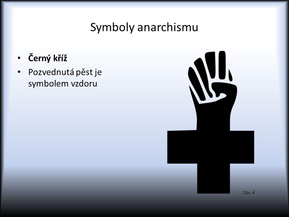 Symboly anarchismu Černý kříž Pozvednutá pěst je symbolem vzdoru Obr. 4
