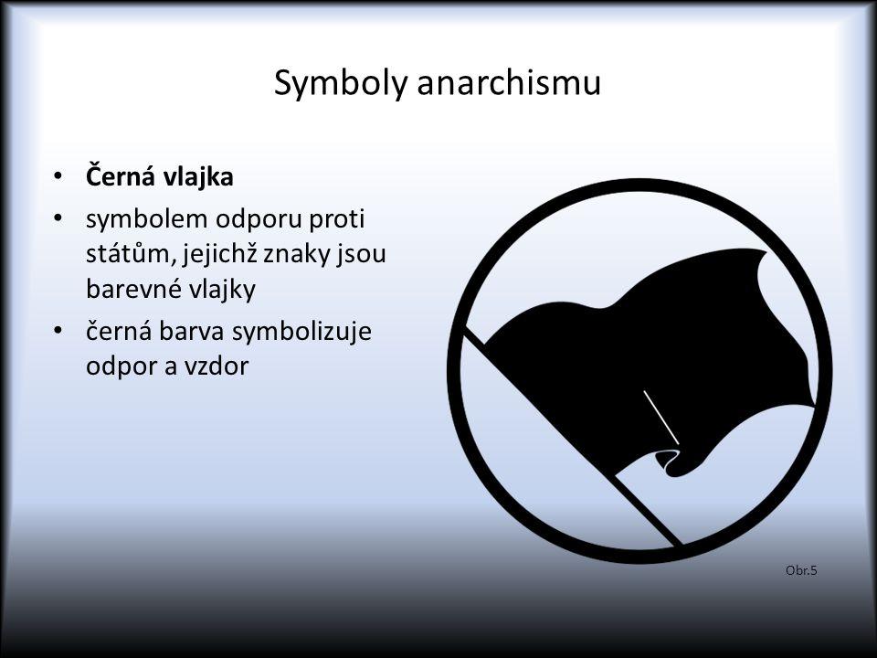 Symboly anarchismu Černá vlajka symbolem odporu proti státům, jejichž znaky jsou barevné vlajky černá barva symbolizuje odpor a vzdor Obr.5