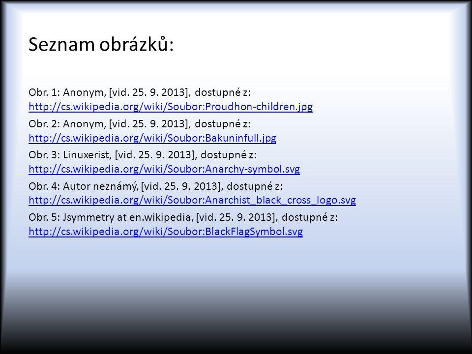 Seznam obrázků: Obr. 1: Anonym, [vid. 25. 9. 2013], dostupné z: http://cs.wikipedia.org/wiki/Soubor:Proudhon-children.jpg http://cs.wikipedia.org/wiki