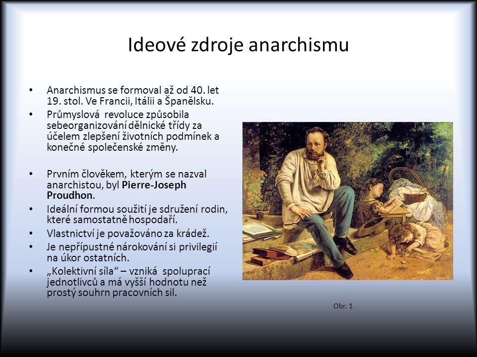 Ideové zdroje anarchismu Anarchismus se formoval až od 40. let 19. stol. Ve Francii, Itálii a Španělsku. Průmyslová revoluce způsobila sebeorganizován