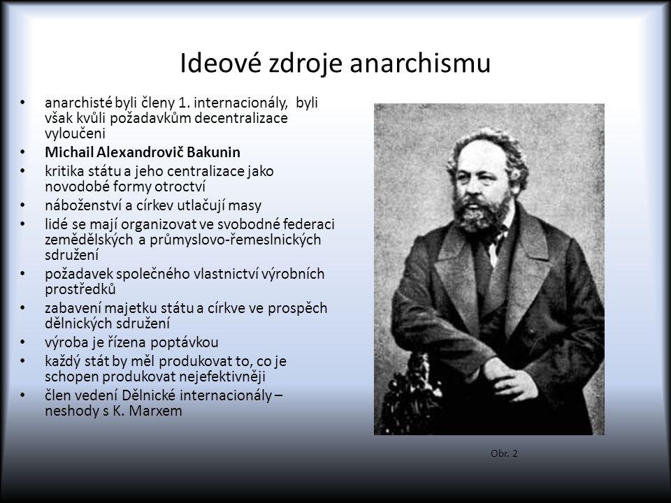 Ideové zdroje anarchismu anarchisté byli členy 1. internacionály, byli však kvůli požadavkům decentralizace vyloučeni Michail Alexandrovič Bakunin kri