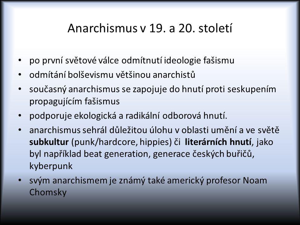 Anarchismus v 19. a 20. století po první světové válce odmítnutí ideologie fašismu odmítání bolševismu většinou anarchistů současný anarchismus se zap