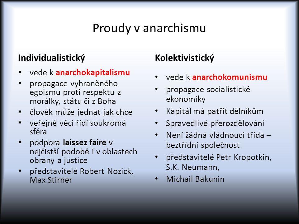 Proudy v anarchismu Individualistický vede k anarchokapitalismu propagace vyhraněného egoismu proti respektu z morálky, státu či z Boha člověk může jednat jak chce veřejné věci řídí soukromá sféra podpora laissez faire v nejčistší podobě i v oblastech obrany a justice představitelé Robert Nozick, Max Stirner Kolektivistický vede k anarchokomunismu propagace socialistické ekonomiky Kapitál má patřit dělníkům Spravedlivé přerozdělování Není žádná vládnoucí třída – beztřídní společnost představitelé Petr Kropotkin, S.K.