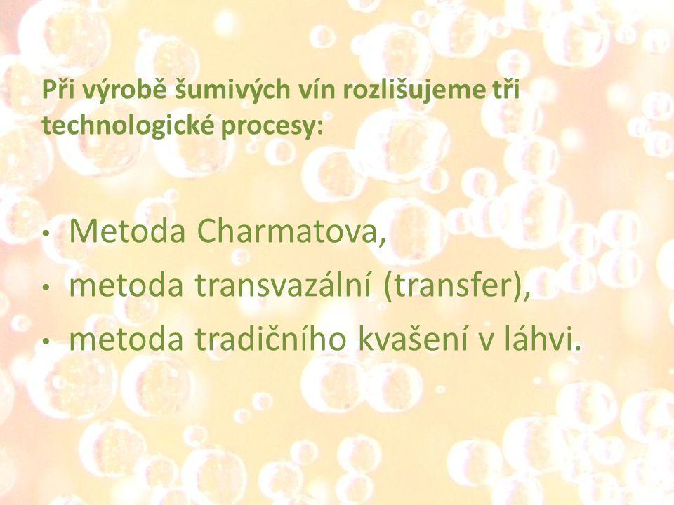 Při výrobě šumivých vín rozlišujeme tři technologické procesy: Metoda Charmatova, metoda transvazální (transfer), metoda tradičního kvašení v láhvi.