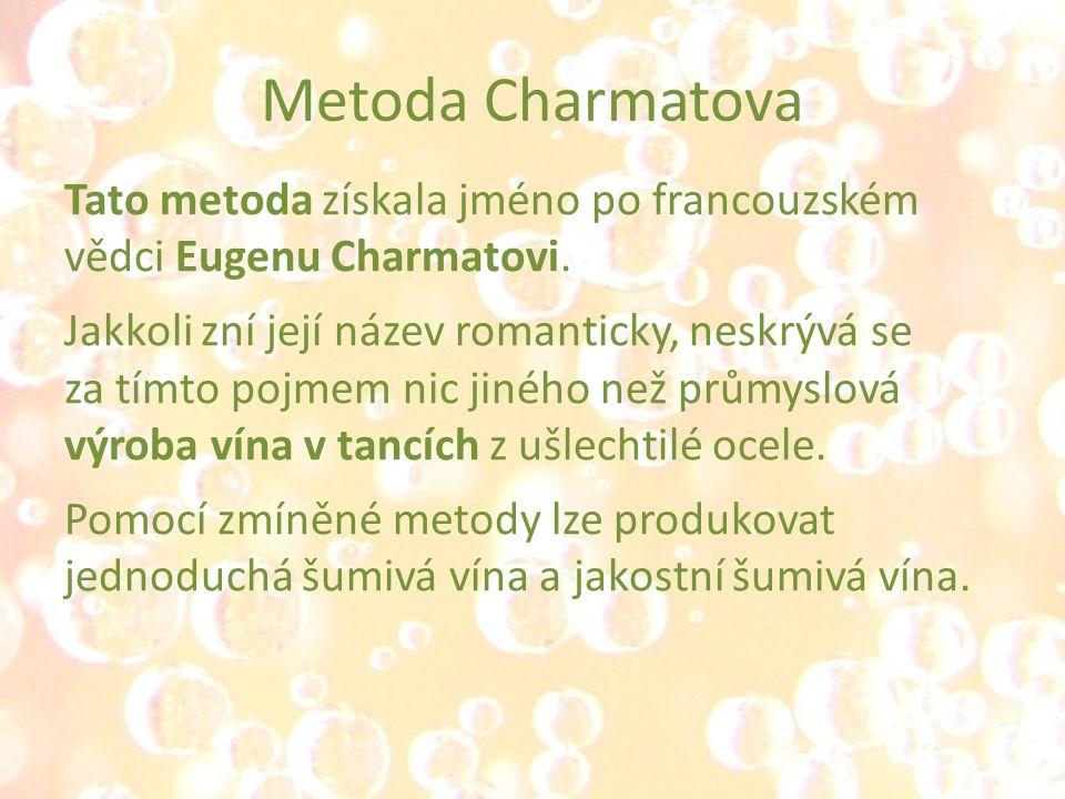 Metoda Charmatova Tato metoda získala jméno po francouzském vědci Eugenu Charmatovi. Jakkoli zní její název romanticky, neskrývá se za tímto pojmem ni