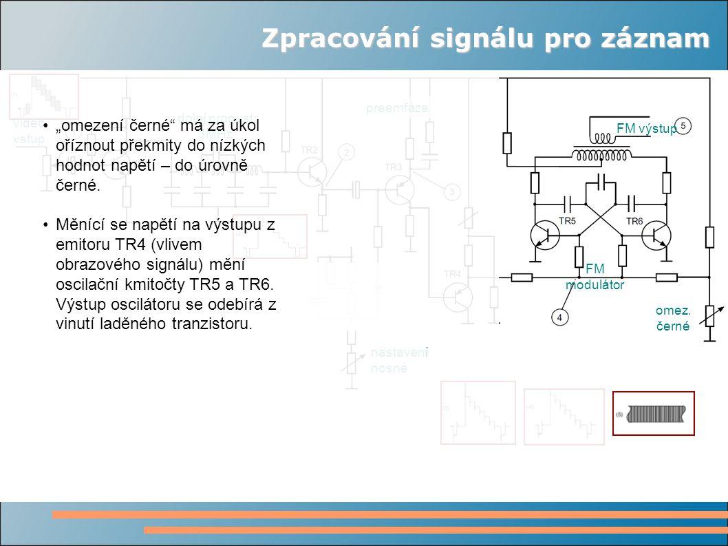 Zpracování signálu pro záznam video vstup dolní propust 3MHz preemfáze nastavení nosné FM modulátor omez.