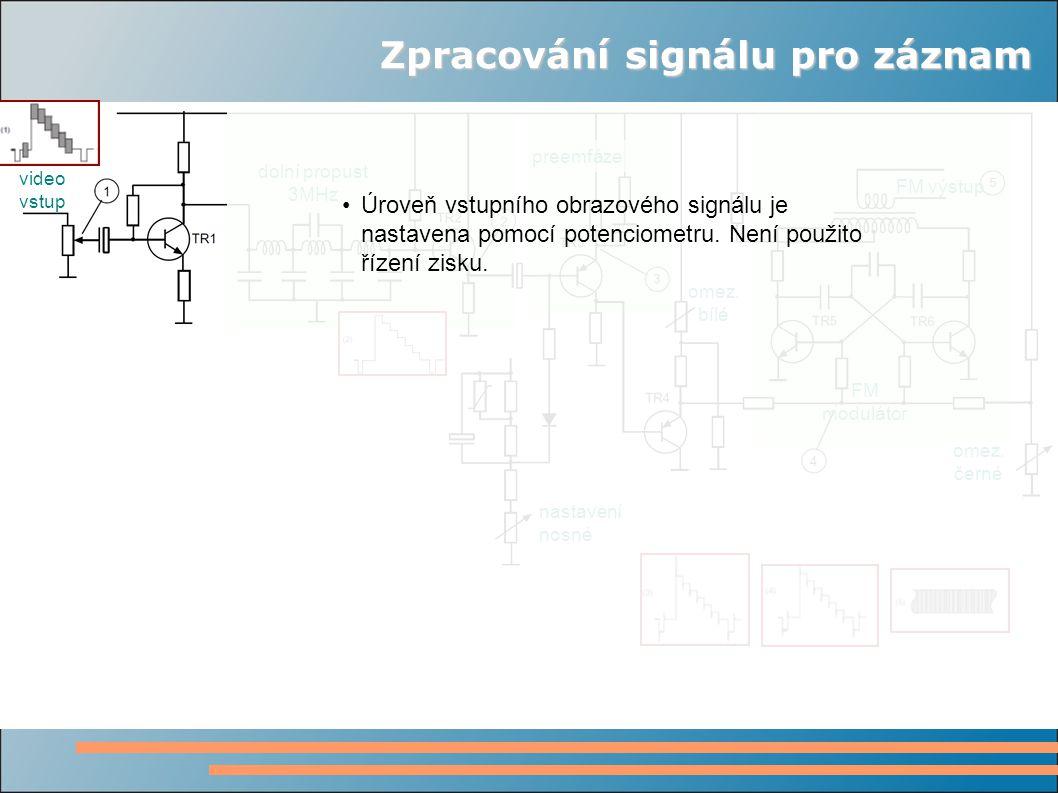 Zpracování signálu pro záznam video vstup dolní propust 3MHz preemfáze omez.