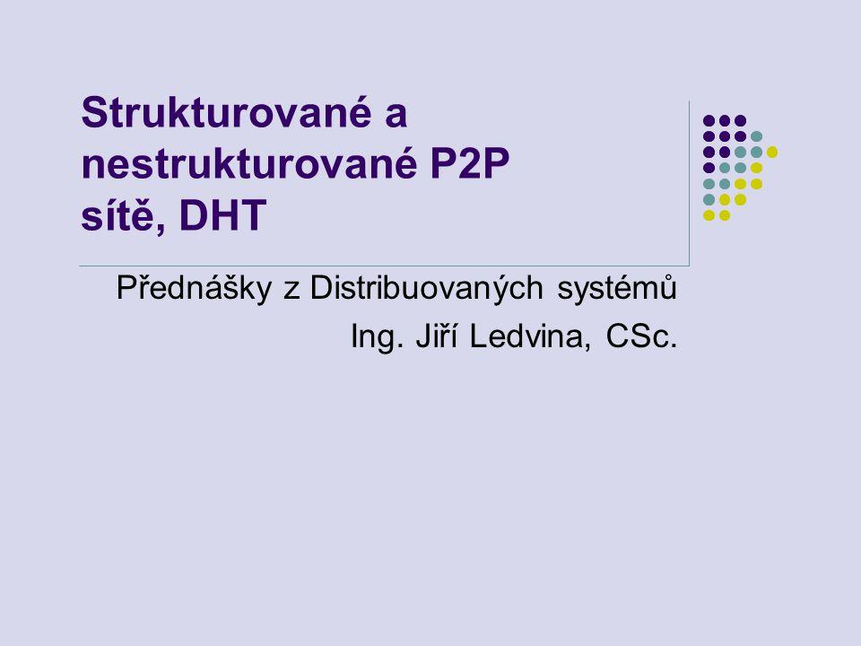Strukturované a nestrukturované P2P sítě, DHT Přednášky z Distribuovaných systémů Ing.