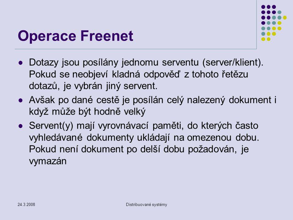 24.3.2008Distribuované systémy Operace Freenet Dotazy jsou posílány jednomu serventu (server/klient).