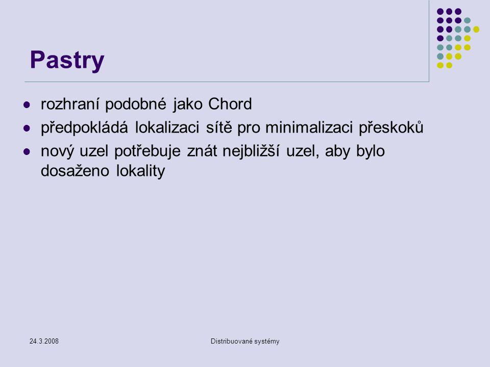 24.3.2008Distribuované systémy Pastry rozhraní podobné jako Chord předpokládá lokalizaci sítě pro minimalizaci přeskoků nový uzel potřebuje znát nejbližší uzel, aby bylo dosaženo lokality