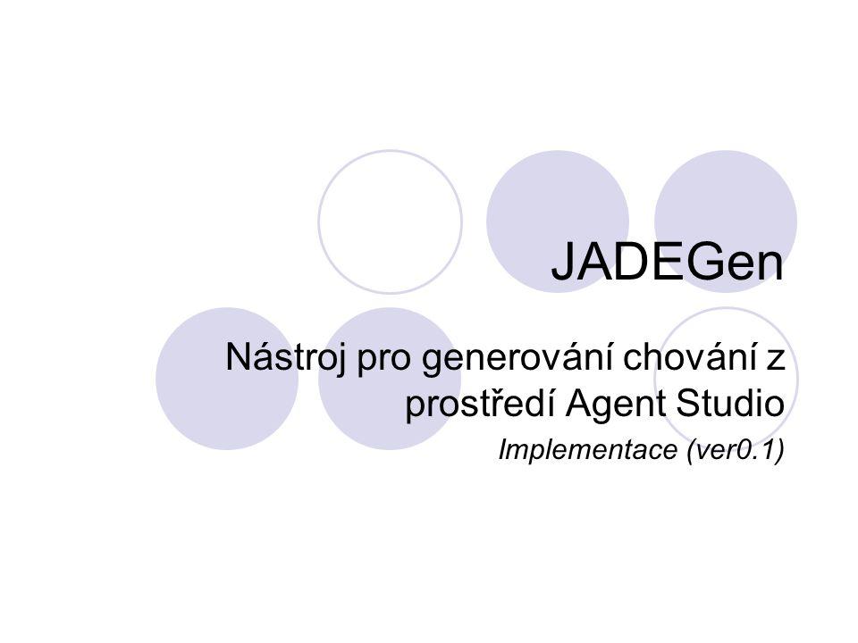 Použití, Požadavky Generování kostry chování pro JADE agenty Nástroj neprodukuje finální kód Nástroj by měl produkovat kompilovatelný kód Úzká spolupráce s aplikací AgentStudio