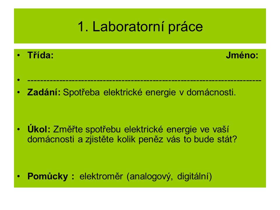 1. Laboratorní práce Třída: Jméno: --------------------------------------------------------------------------- Zadání: Spotřeba elektrické energie v d