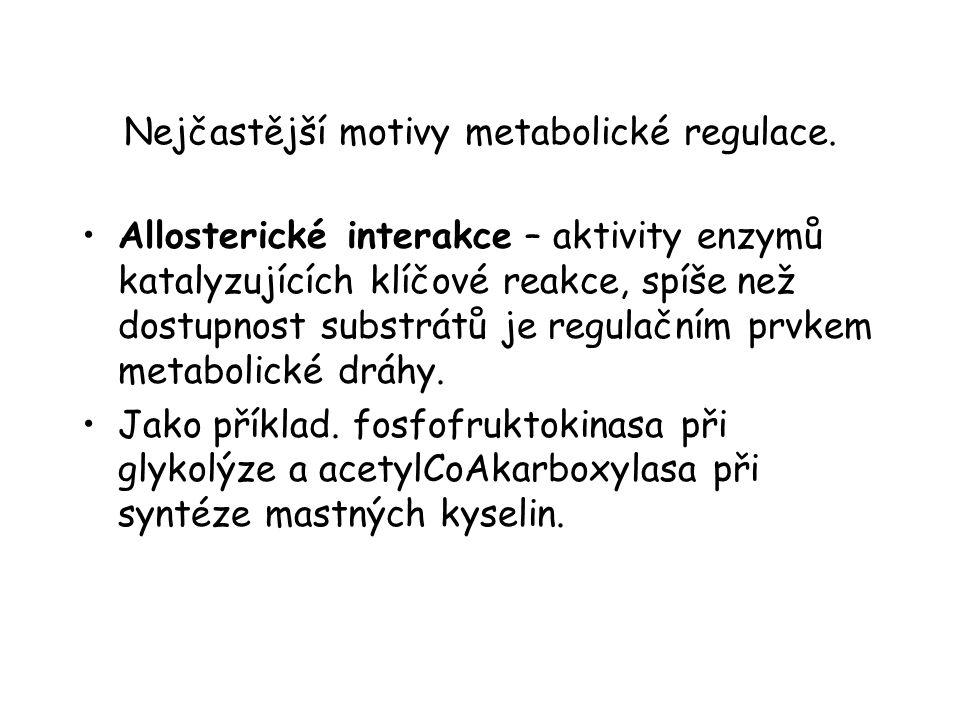 Nejčastější motivy metabolické regulace. Allosterické interakce – aktivity enzymů katalyzujících klíčové reakce, spíše než dostupnost substrátů je reg