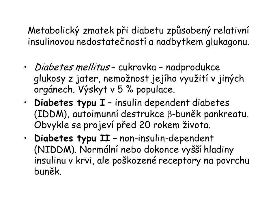 Metabolický zmatek při diabetu způsobený relativní insulinovou nedostatečností a nadbytkem glukagonu. Diabetes mellitus – cukrovka – nadprodukce gluko