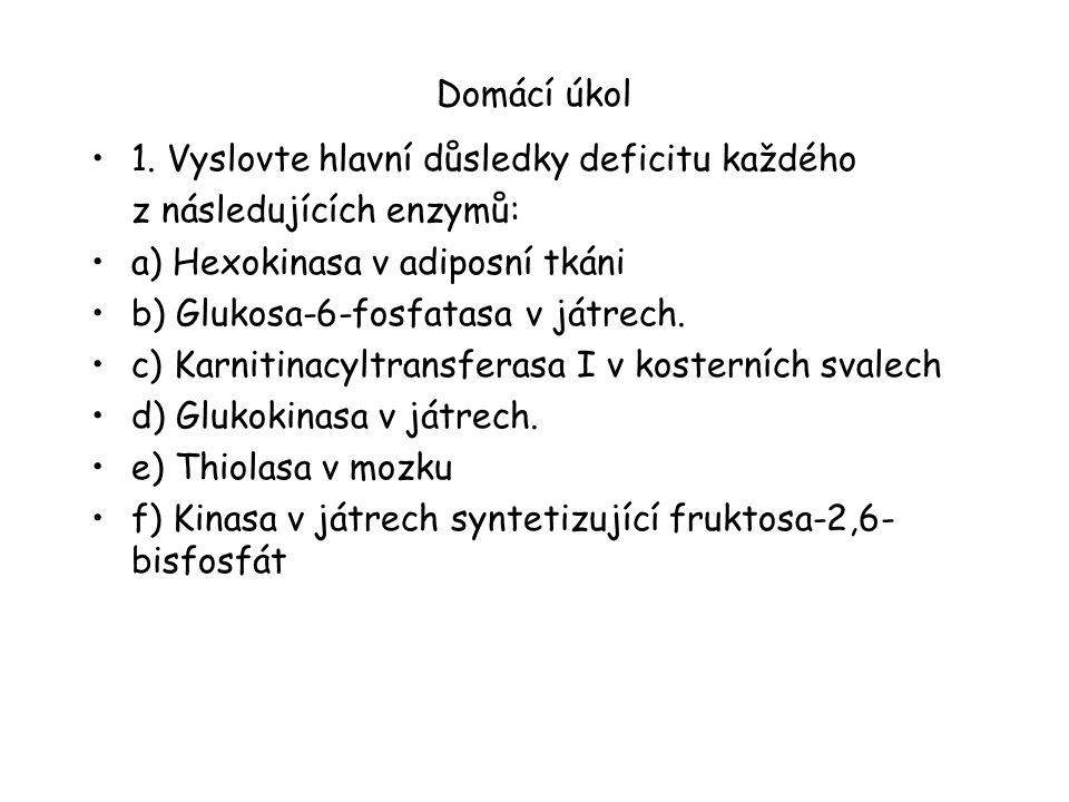 Domácí úkol 1. Vyslovte hlavní důsledky deficitu každého z následujících enzymů: a) Hexokinasa v adiposní tkáni b) Glukosa-6-fosfatasa v játrech. c) K