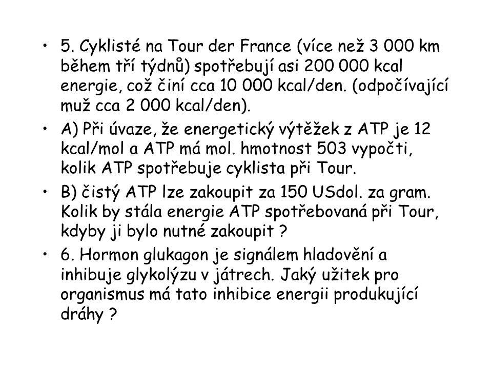 5. Cyklisté na Tour der France (více než 3 000 km během tří týdnů) spotřebují asi 200 000 kcal energie, což činí cca 10 000 kcal/den. (odpočívající mu