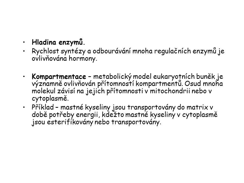 Hladina enzymů. Rychlost syntézy a odbourávání mnoha regulačních enzymů je ovlivňována hormony. Kompartmentace – metabolický model eukaryotních buněk
