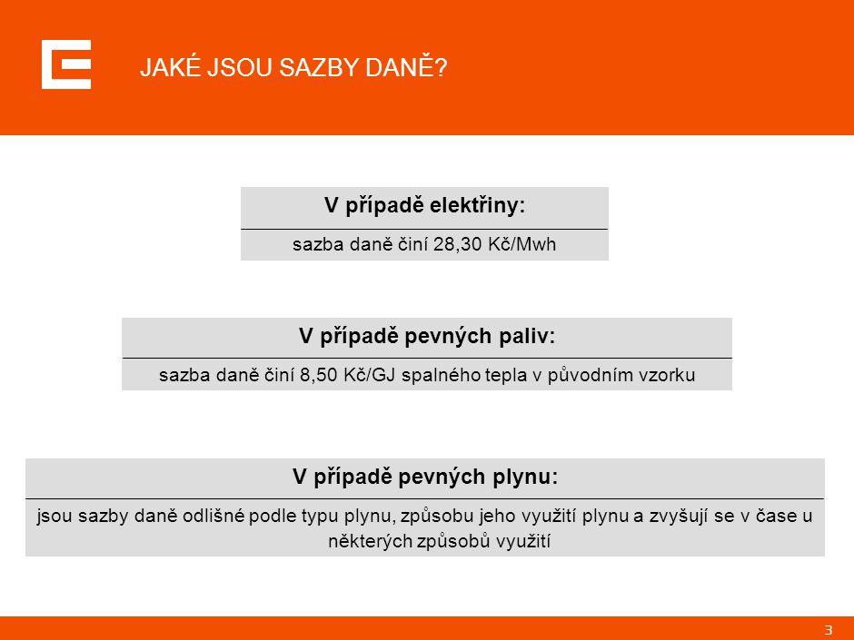 3 V případě elektřiny: sazba daně činí 28,30 Kč/Mwh JAKÉ JSOU SAZBY DANĚ.