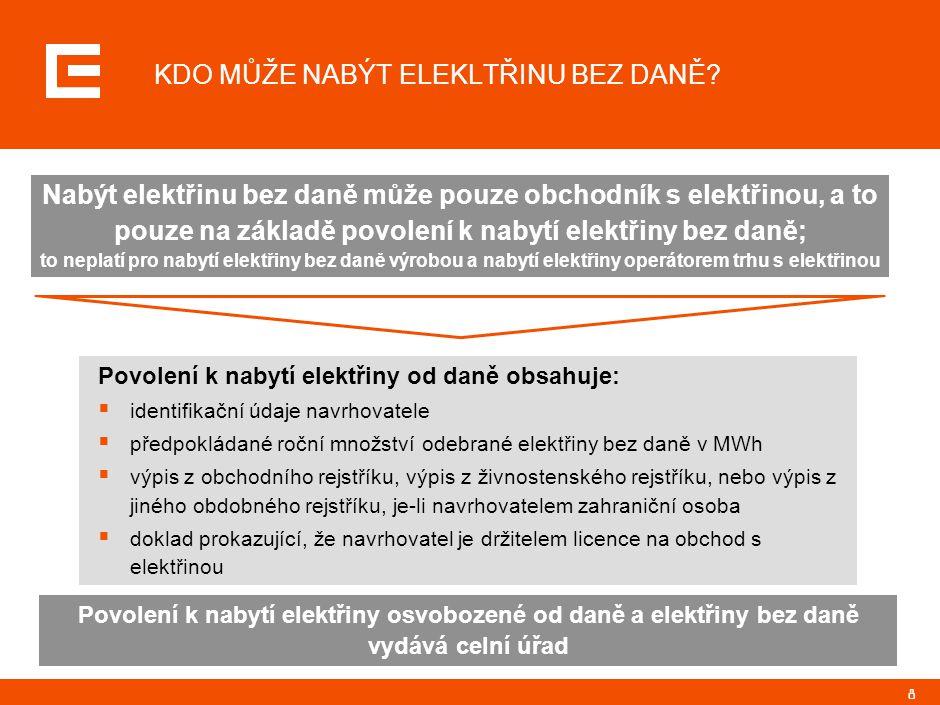 8 Povolení k nabytí elektřiny od daně obsahuje:  identifikační údaje navrhovatele  předpokládané roční množství odebrané elektřiny bez daně v MWh  výpis z obchodního rejstříku, výpis z živnostenského rejstříku, nebo výpis z jiného obdobného rejstříku, je-li navrhovatelem zahraniční osoba  doklad prokazující, že navrhovatel je držitelem licence na obchod s elektřinou KDO MŮŽE NABÝT ELEKLTŘINU BEZ DANĚ.