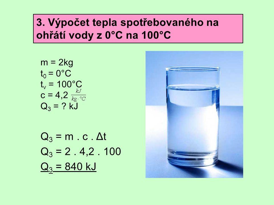 3. Výpočet tepla spotřebovaného na ohřátí vody z 0°C na 100°C m = 2kg t 0 = 0°C t v = 100°C c = 4,2 Q 3 = ? kJ Q 3 = m. c. Δt Q 3 = 2. 4,2. 100 Q 3 =
