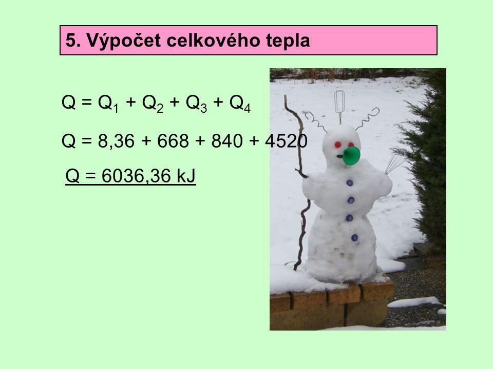 5. Výpočet celkového tepla Q = Q 1 + Q 2 + Q 3 + Q 4 Q = 8,36 + 668 + 840 + 4520 Q = 6036,36 kJ