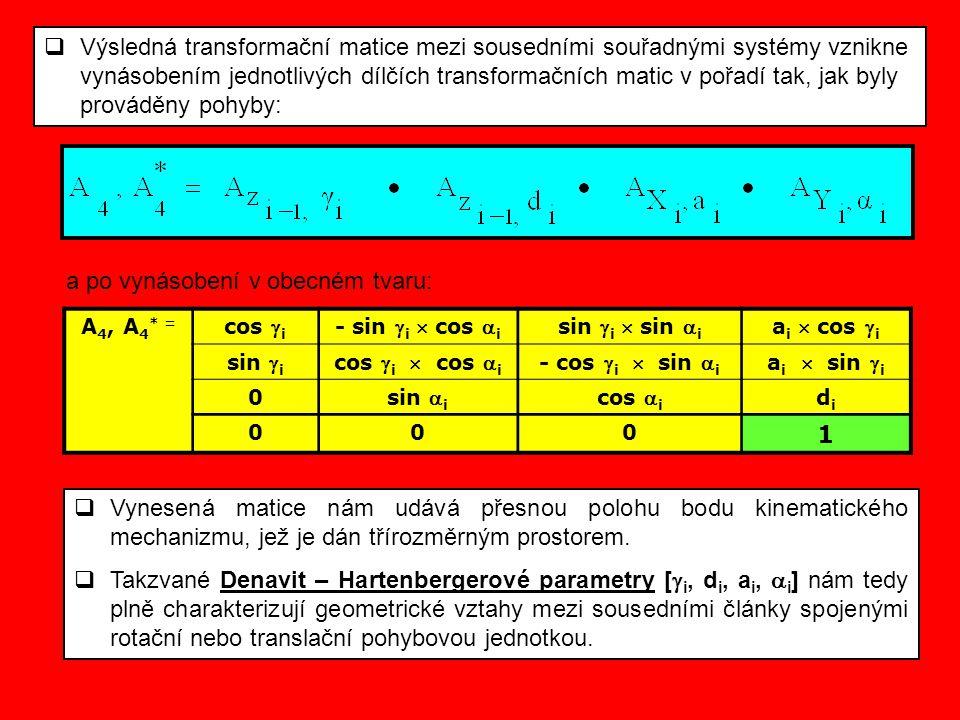  Výsledná transformační matice mezi sousedními souřadnými systémy vznikne vynásobením jednotlivých dílčích transformačních matic v pořadí tak, jak by