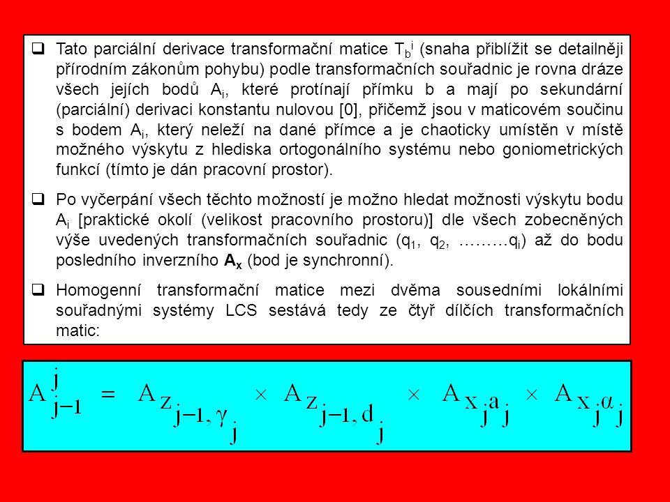  Tato parciální derivace transformační matice T b i (snaha přiblížit se detailněji přírodním zákonům pohybu) podle transformačních souřadnic je rovna