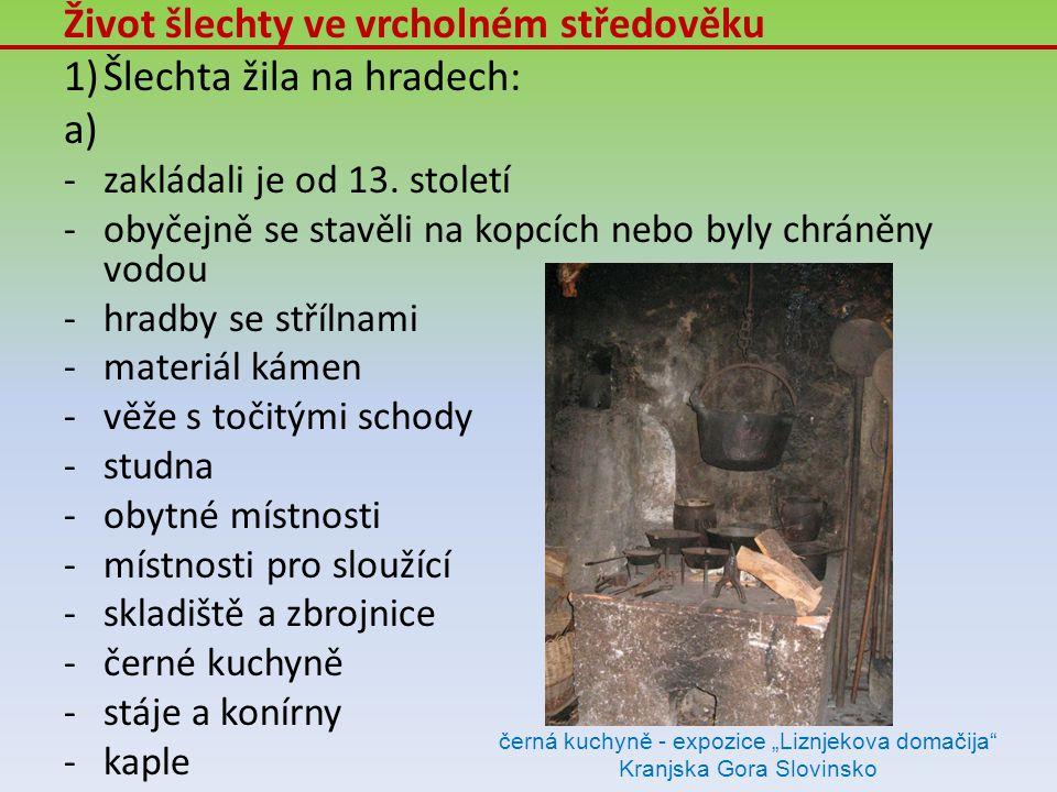 Život šlechty ve vrcholném středověku 1)Šlechta žila na hradech: a) -zakládali je od 13. století -obyčejně se stavěli na kopcích nebo byly chráněny vo