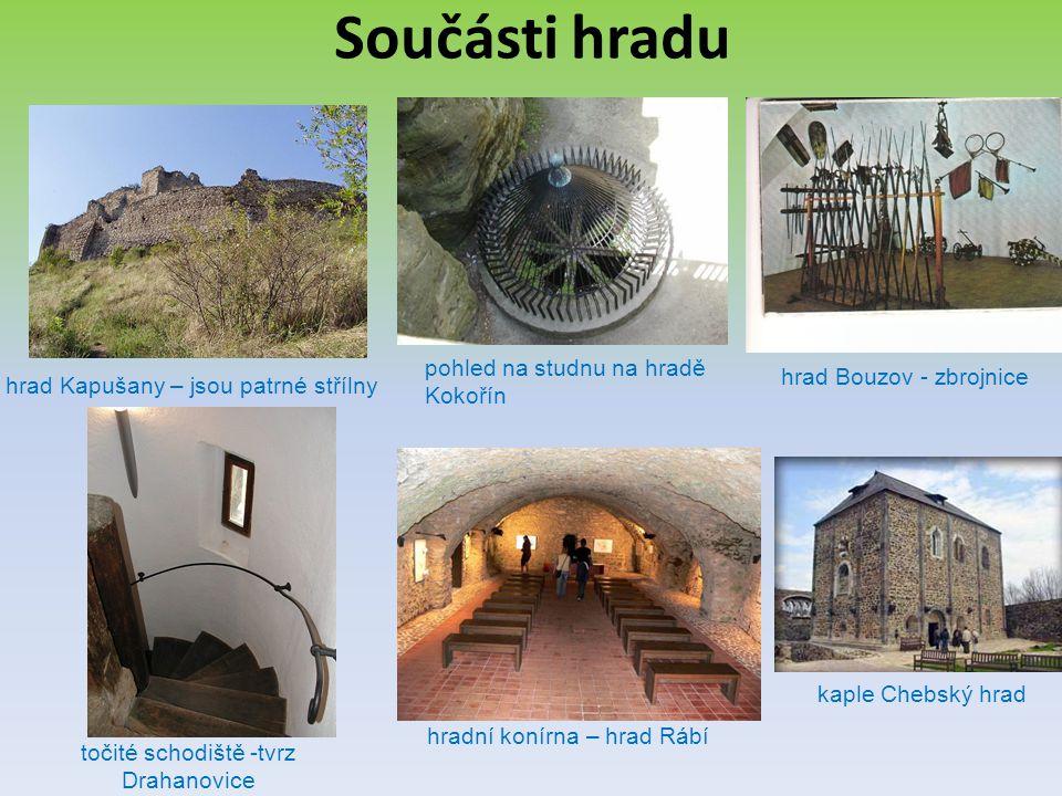 Součásti hradu hrad Kapušany – jsou patrné střílny točité schodiště -tvrz Drahanovice pohled na studnu na hradě Kokořín hradní konírna – hrad Rábí kap