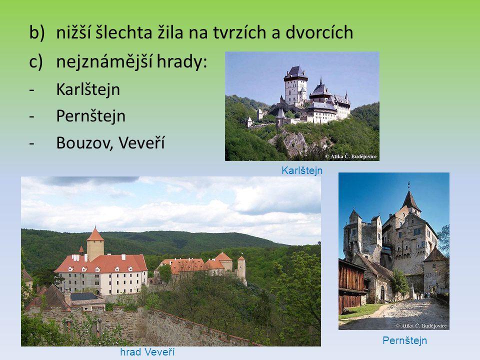 b)nižší šlechta žila na tvrzích a dvorcích c)nejznámější hrady: -Karlštejn -Pernštejn -Bouzov, Veveří hrad Veveří Karlštejn Pernštejn