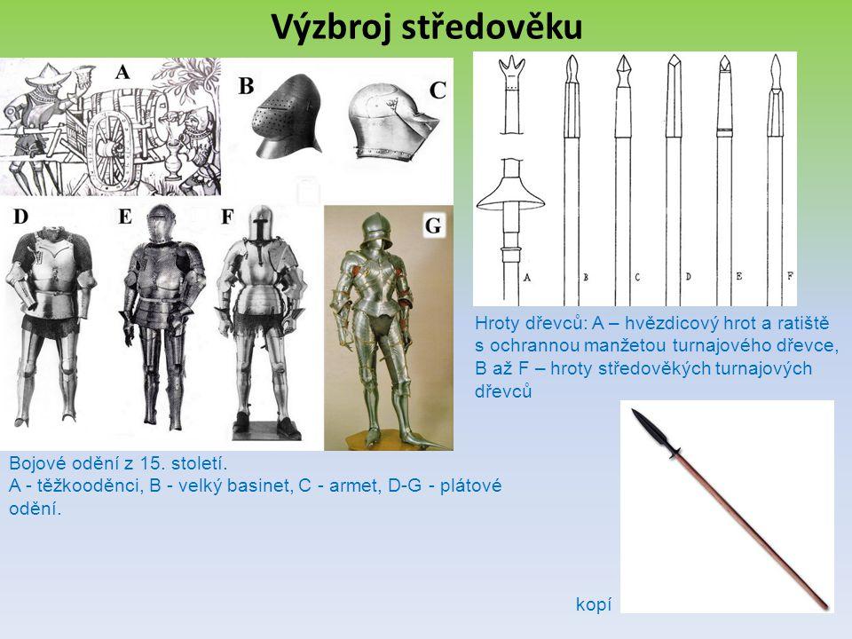 Výzbroj středověku Bojové odění z 15. století. A - těžkooděnci, B - velký basinet, C - armet, D-G - plátové odění. Hroty dřevců: A – hvězdicový hrot a