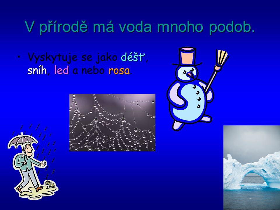 V přírodě má voda mnoho podob. déšť sníhledrosaVyskytuje se jako déšť, sníh, led a nebo rosa.