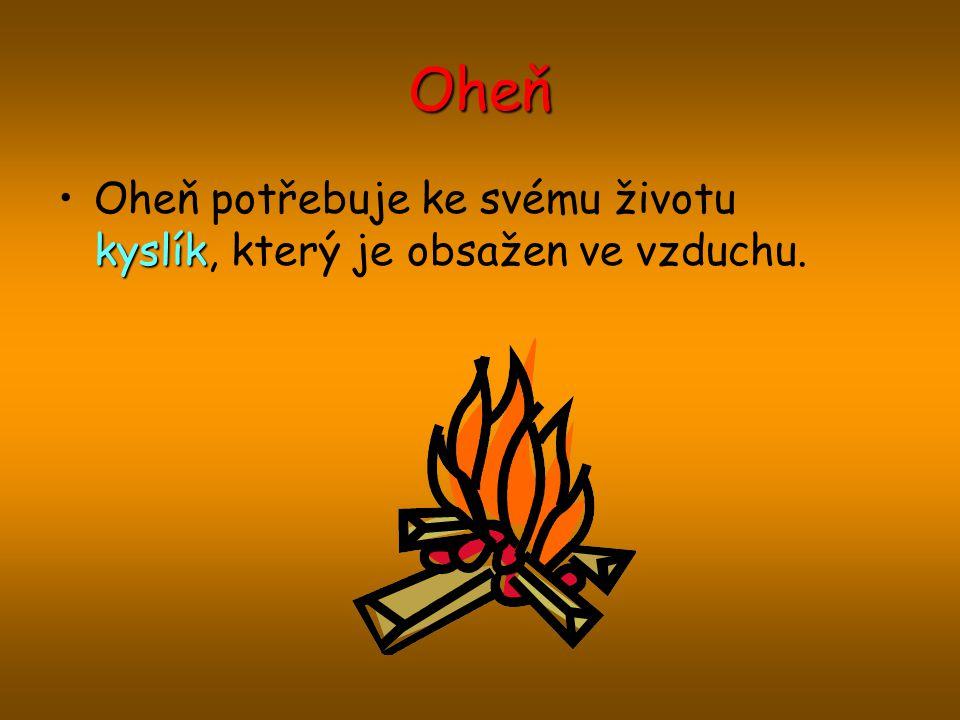 Oheň kyslíkOheň potřebuje ke svému životu kyslík, který je obsažen ve vzduchu.