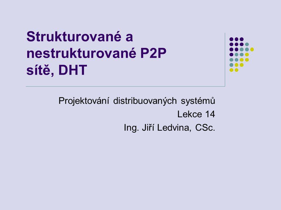 Strukturované a nestrukturované P2P sítě, DHT Projektování distribuovaných systémů Lekce 14 Ing.