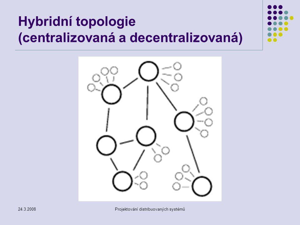 24.3.2008Projektování distribuovaných systémů Hybridní topologie (centralizovaná a decentralizovaná)