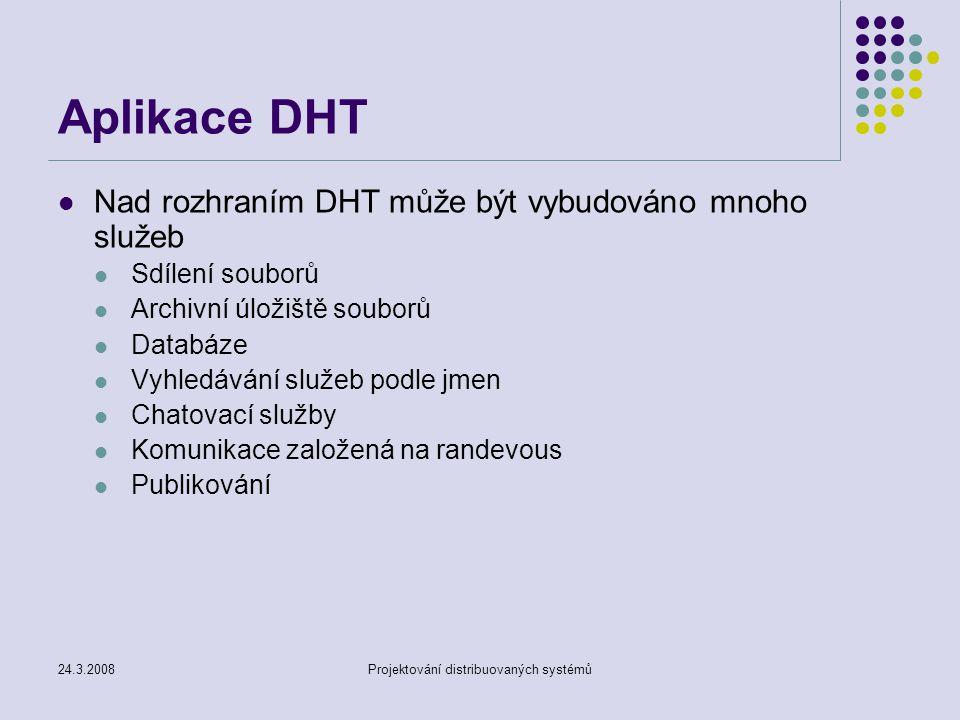 24.3.2008Projektování distribuovaných systémů Aplikace DHT Nad rozhraním DHT může být vybudováno mnoho služeb Sdílení souborů Archivní úložiště souborů Databáze Vyhledávání služeb podle jmen Chatovací služby Komunikace založená na randevous Publikování
