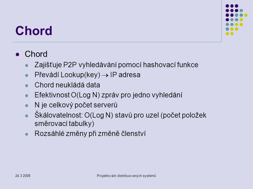 24.3.2008Projektování distribuovaných systémů Chord Zajišťuje P2P vyhledávání pomocí hashovací funkce Převádí Lookup(key)  IP adresa Chord neukládá data Efektivnost O(Log N) zpráv pro jedno vyhledání N je celkový počet serverů Škálovatelnost: O(Log N) stavů pro uzel (počet položek směrovací tabulky) Rozsáhlé změny při změně členství