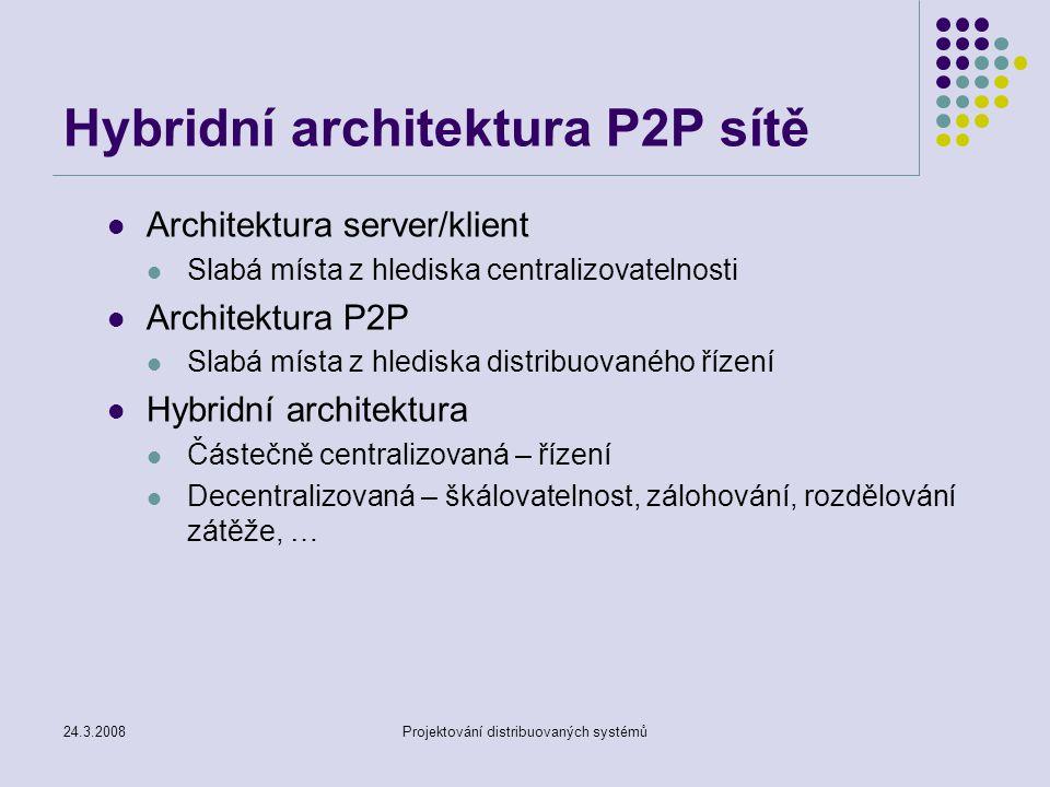 24.3.2008Projektování distribuovaných systémů Vývoj služeb Internetu První generace – čistý Internet Využití přenosových cest Zpracování dat v koncových uzlech Druhá generace – webové služby (překryvná síť) Využívání transparentních modulů v síti (proxy, cache, firewall, … ) Třetí generace – vytváření nových služeb pro uživatele Využití nevyužitých výpočetních zdrojů sítě v koncových uzlech (ne pouze přenosových cest) Jednoduché zavádění nových služeb Není nutný složitý management Na P2P sítě se můžeme dívat jako na novou generaci Internetu