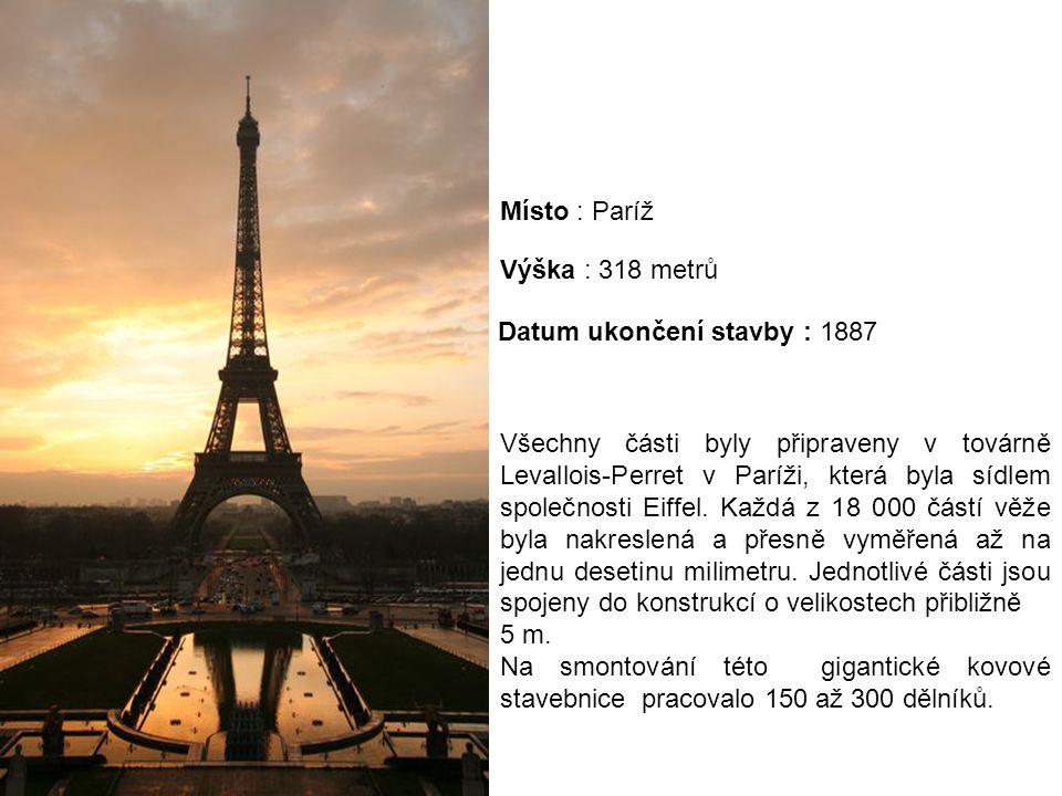 Všechny části byly připraveny v továrně Levallois-Perret v Paríži, která byla sídlem společnosti Eiffel. Každá z 18 000 částí věže byla nakreslená a p