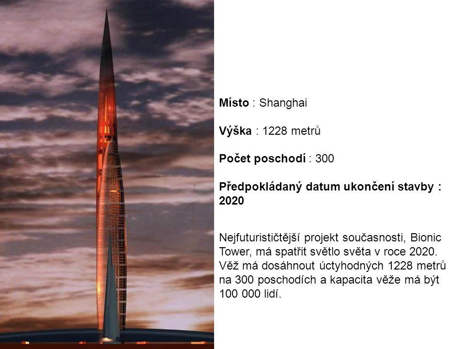 Nejfuturističtější projekt současnosti, Bionic Tower, má spatřit světlo světa v roce 2020. Věž má dosáhnout úctyhodných 1228 metrů na 300 poschodích a