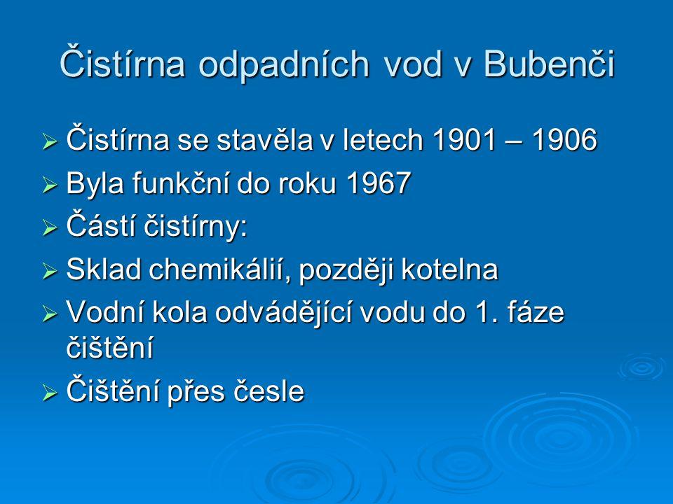 Čistírna odpadních vod v Bubenči  Čistírna se stavěla v letech 1901 – 1906  Byla funkční do roku 1967  Částí čistírny:  Sklad chemikálií, později