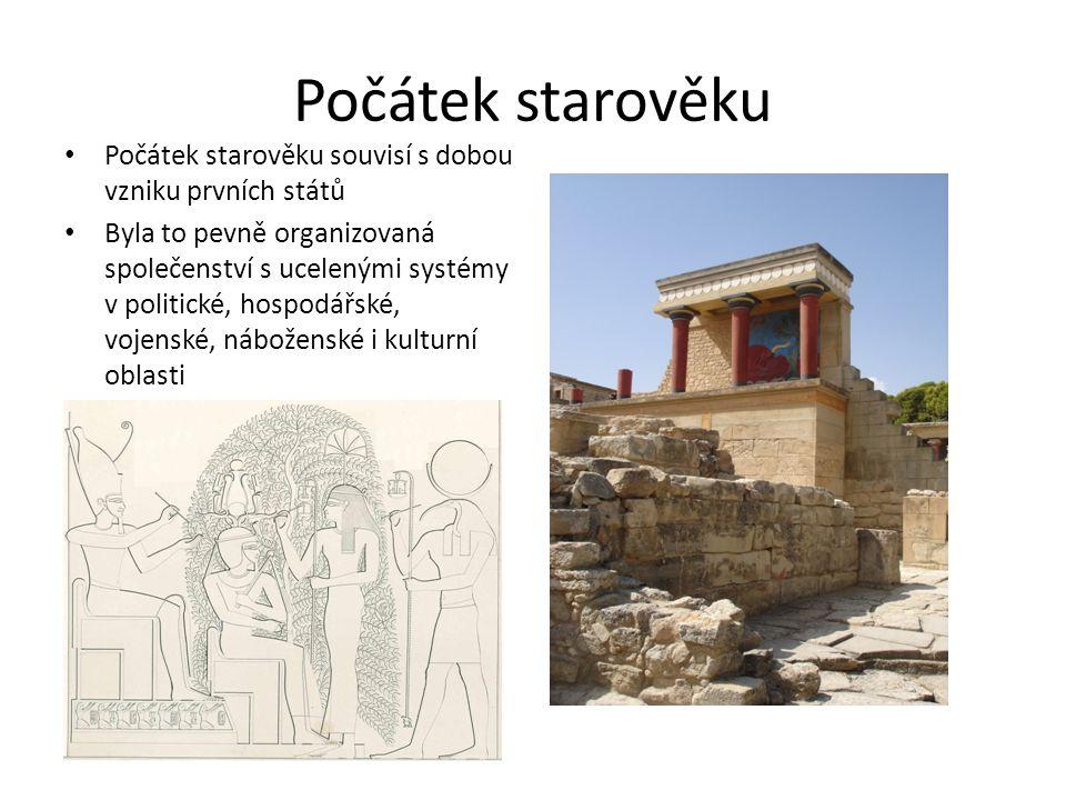 Počátek starověku Počátek starověku souvisí s dobou vzniku prvních států Byla to pevně organizovaná společenství s ucelenými systémy v politické, hosp
