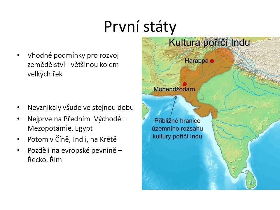 První státy Vhodné podmínky pro rozvoj zemědělství - většinou kolem velkých řek Nevznikaly všude ve stejnou dobu Nejprve na Předním Východě – Mezopotá