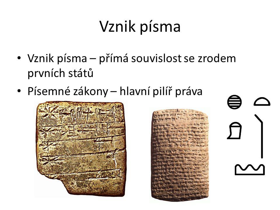 Vznik písma Vznik písma – přímá souvislost se zrodem prvních států Písemné zákony – hlavní pilíř práva