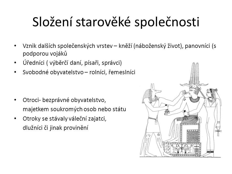 Složení starověké společnosti Vznik dalších společenských vrstev – kněží (náboženský život), panovníci (s podporou vojáků Úředníci ( výběrčí daní, pís