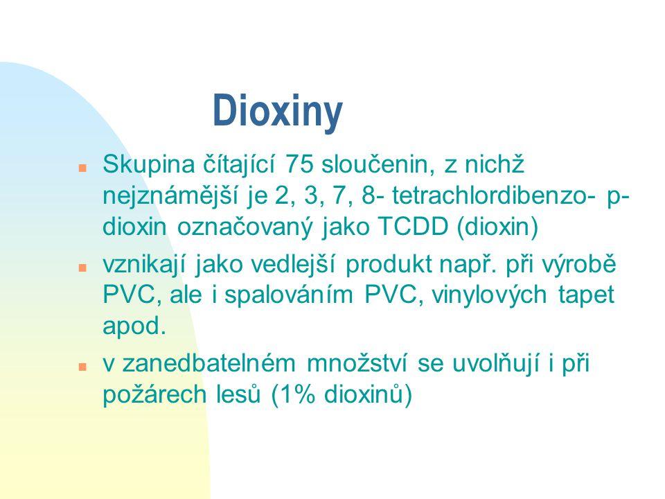 TCDD n Jedna z nejjedovatějších látek n denně přijímáme 120 pikogramů (vzduch, ale hlavně tukové tkáně) n TCDD byl součástí i látky Agent Orange n Hromadí se v tucích