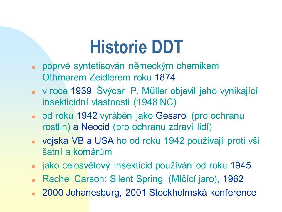 Pozitiva DDT n Drastický pokles onemocnění přenášených členovci (hlavně malárie) n ochrana před zemědělskými škůdci n levná výroba n pomalý vznik rezistence, tedy i dnes velká účinnost