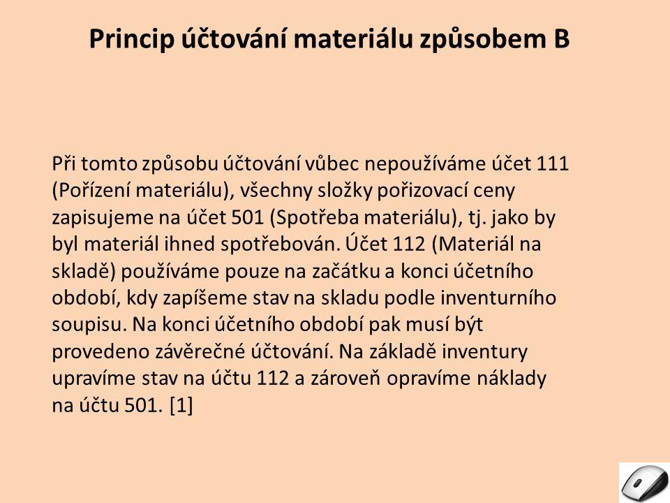 Princip účtování materiálu způsobem B Při tomto způsobu účtování vůbec nepoužíváme účet 111 (Pořízení materiálu), všechny složky pořizovací ceny zapis