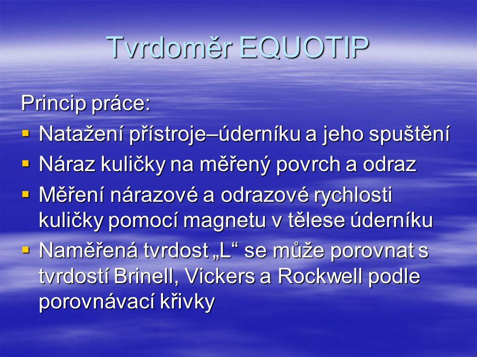 Tvrdoměr EQUOTIP Princip práce:  Natažení přístroje–úderníku a jeho spuštění  Náraz kuličky na měřený povrch a odraz  Měření nárazové a odrazové ry